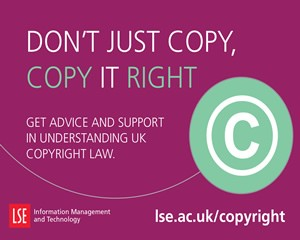 Promotional postcard for copyright support at LSE