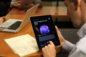 NASA Visualization Explorer App being used on a tablet