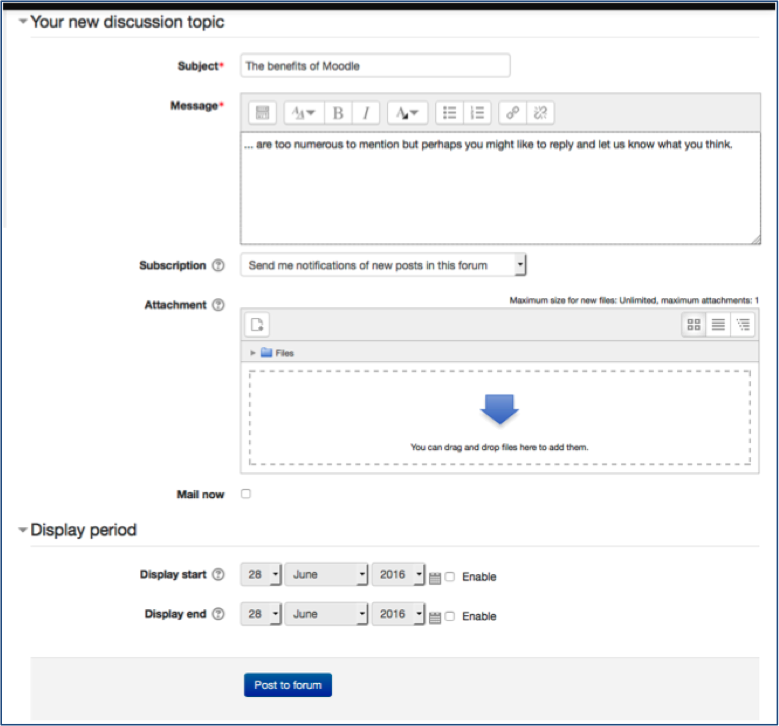 Use and manage discussion Forums – Learning Technology and