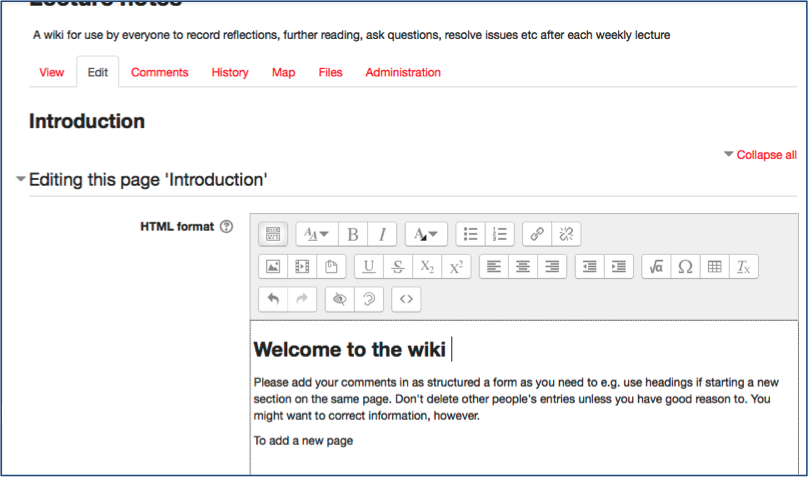 Create and use a Wiki – Learning Technology and Innovation